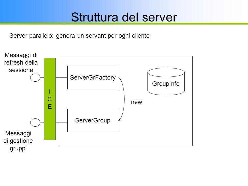 Struttura del server ServerGrFactory ServerGroup new GroupInfo Server parallelo: genera un servant per ogni cliente ICEICE Messaggi di gestione gruppi Messaggi di refresh della sessione