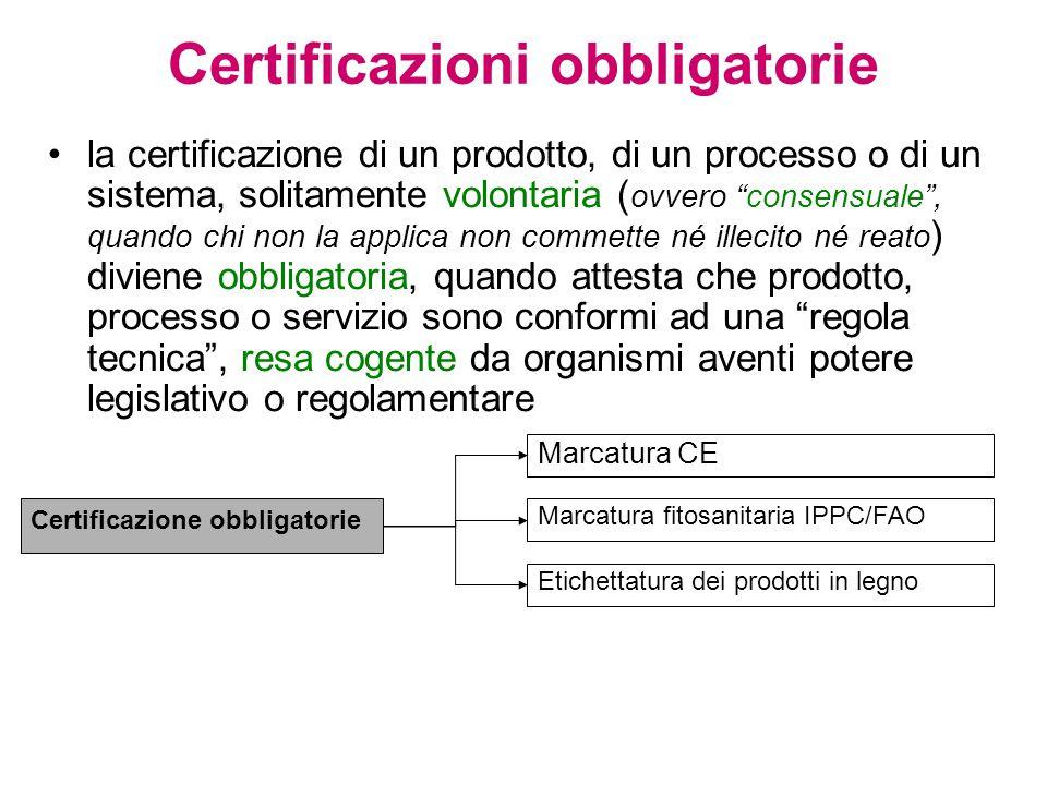 Certificazioni obbligatorie la certificazione di un prodotto, di un processo o di un sistema, solitamente volontaria ( ovvero consensuale , quando chi non la applica non commette né illecito né reato ) diviene obbligatoria, quando attesta che prodotto, processo o servizio sono conformi ad una regola tecnica , resa cogente da organismi aventi potere legislativo o regolamentare Certificazione obbligatorie Marcatura CE Marcatura fitosanitaria IPPC/FAO Etichettatura dei prodotti in legno