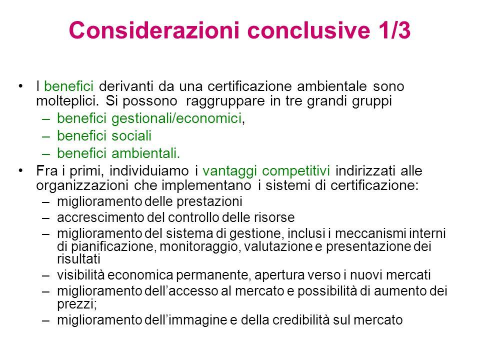 Considerazioni conclusive 1/3 I benefici derivanti da una certificazione ambientale sono molteplici.