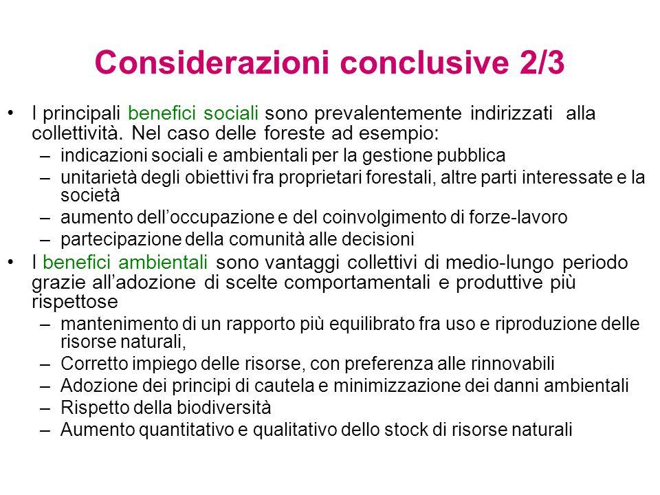 Considerazioni conclusive 2/3 I principali benefici sociali sono prevalentemente indirizzati alla collettività.