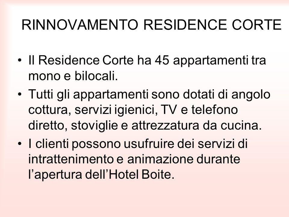 RINNOVAMENTO RESIDENCE CORTE Il Residence Corte ha 45 appartamenti tra mono e bilocali. Tutti gli appartamenti sono dotati di angolo cottura, servizi