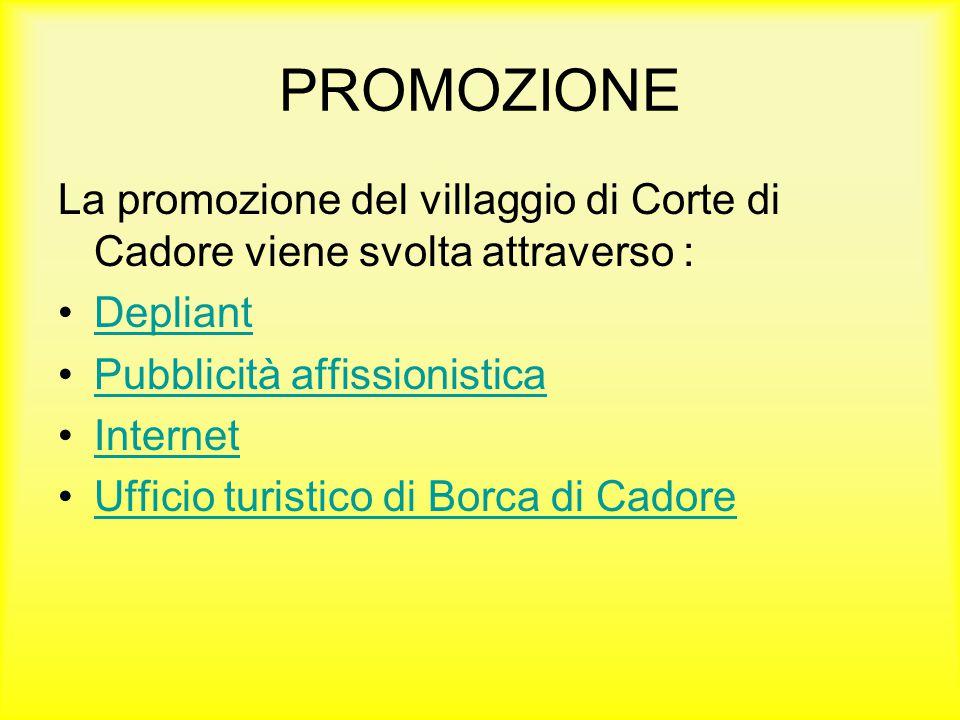 PROMOZIONE La promozione del villaggio di Corte di Cadore viene svolta attraverso : Depliant Pubblicità affissionistica Internet Ufficio turistico di