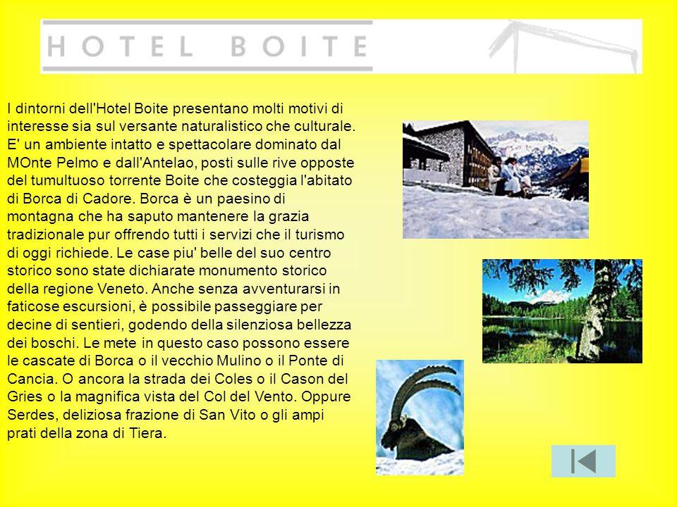 I dintorni dell'Hotel Boite presentano molti motivi di interesse sia sul versante naturalistico che culturale. E' un ambiente intatto e spettacolare d