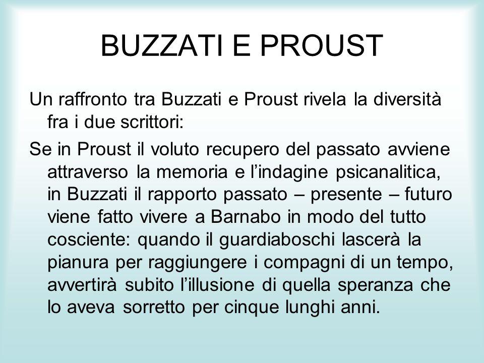 BUZZATI E PROUST Un raffronto tra Buzzati e Proust rivela la diversità fra i due scrittori: Se in Proust il voluto recupero del passato avviene attrav