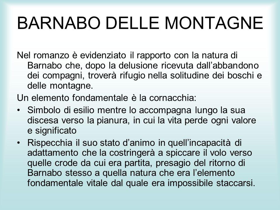 BARNABO DELLE MONTAGNE Nel romanzo è evidenziato il rapporto con la natura di Barnabo che, dopo la delusione ricevuta dall'abbandono dei compagni, tro