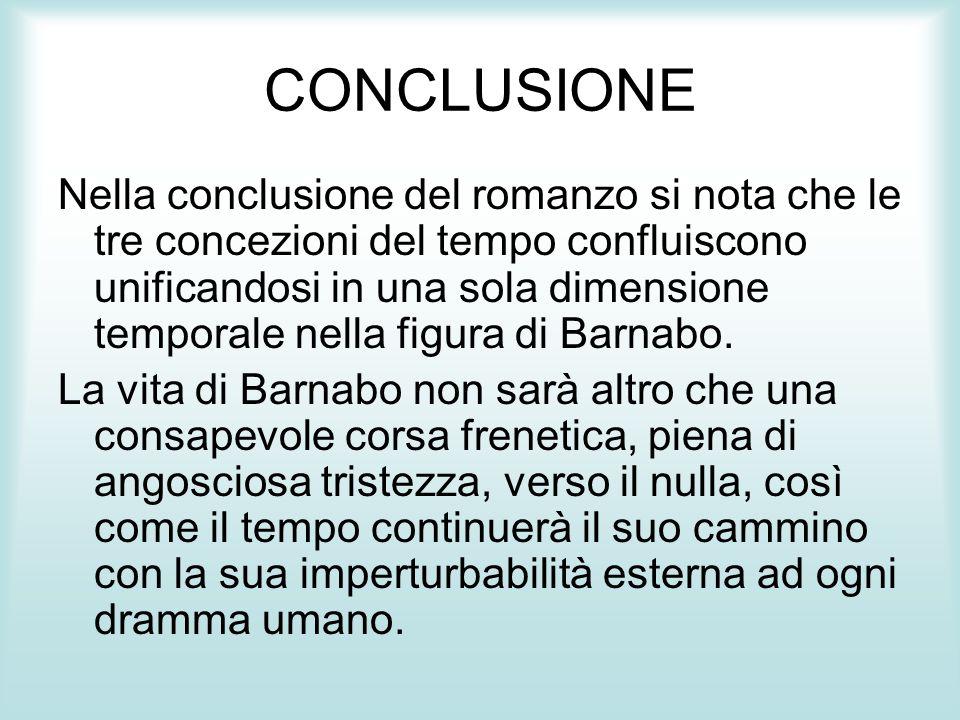 CONCLUSIONE Nella conclusione del romanzo si nota che le tre concezioni del tempo confluiscono unificandosi in una sola dimensione temporale nella fig