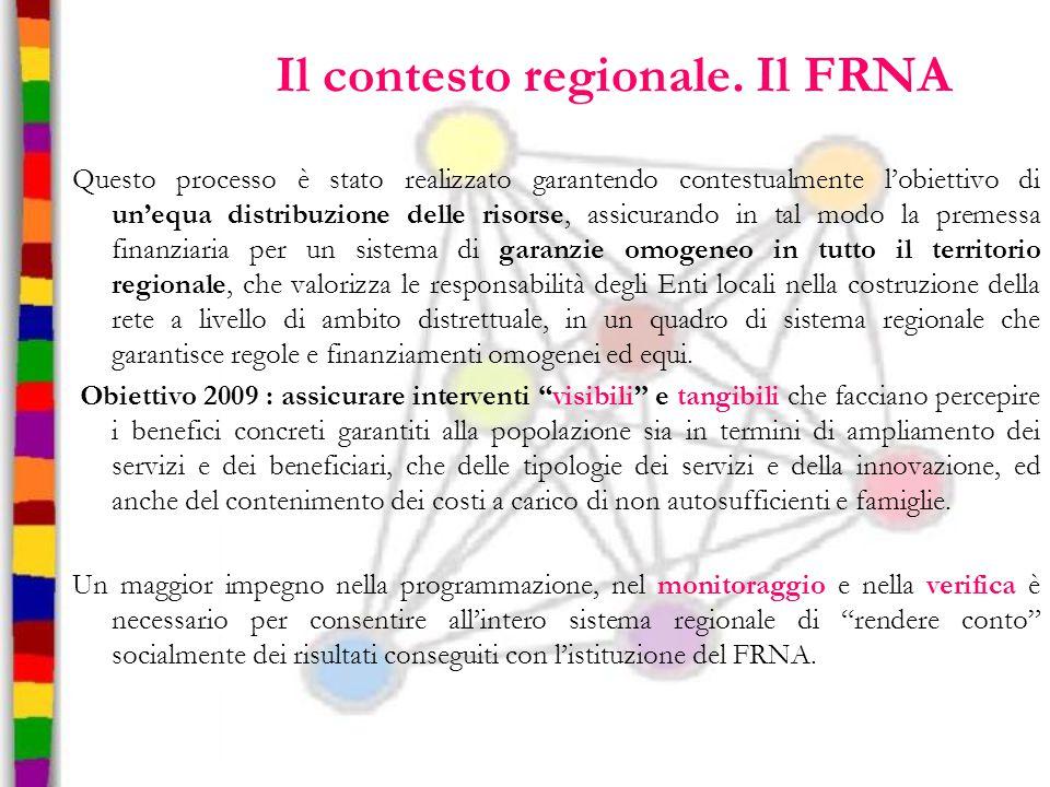 Il contesto regionale. Il FRNA Questo processo è stato realizzato garantendo contestualmente l'obiettivo di un'equa distribuzione delle risorse, assic