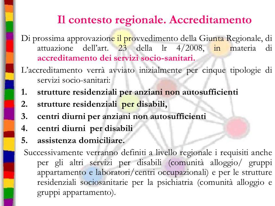 Il contesto regionale. Accreditamento Di prossima approvazione il provvedimento della Giunta Regionale, di attuazione dell'art. 23 della lr 4/2008, in