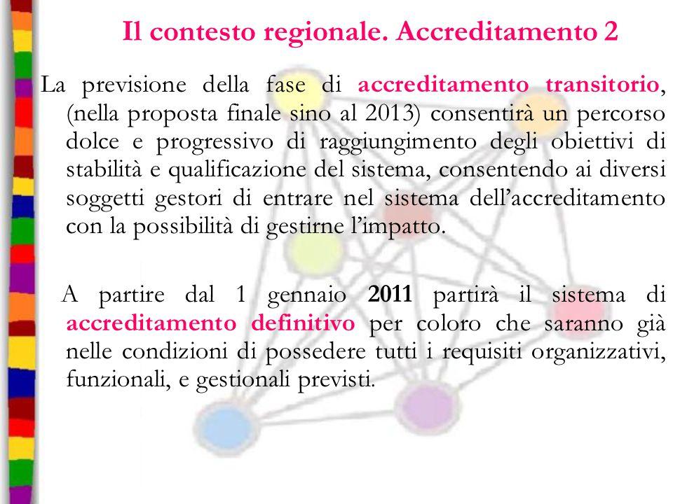 Il contesto regionale. Accreditamento 2 La previsione della fase di accreditamento transitorio, (nella proposta finale sino al 2013) consentirà un per