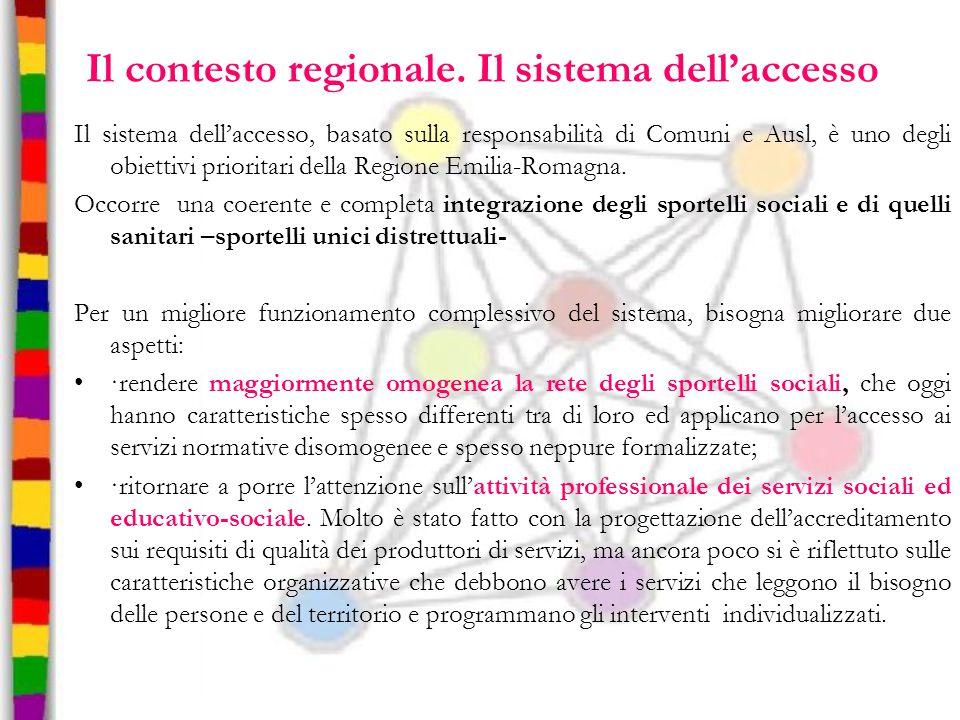 Il contesto regionale. Il sistema dell'accesso Il sistema dell'accesso, basato sulla responsabilità di Comuni e Ausl, è uno degli obiettivi prioritari