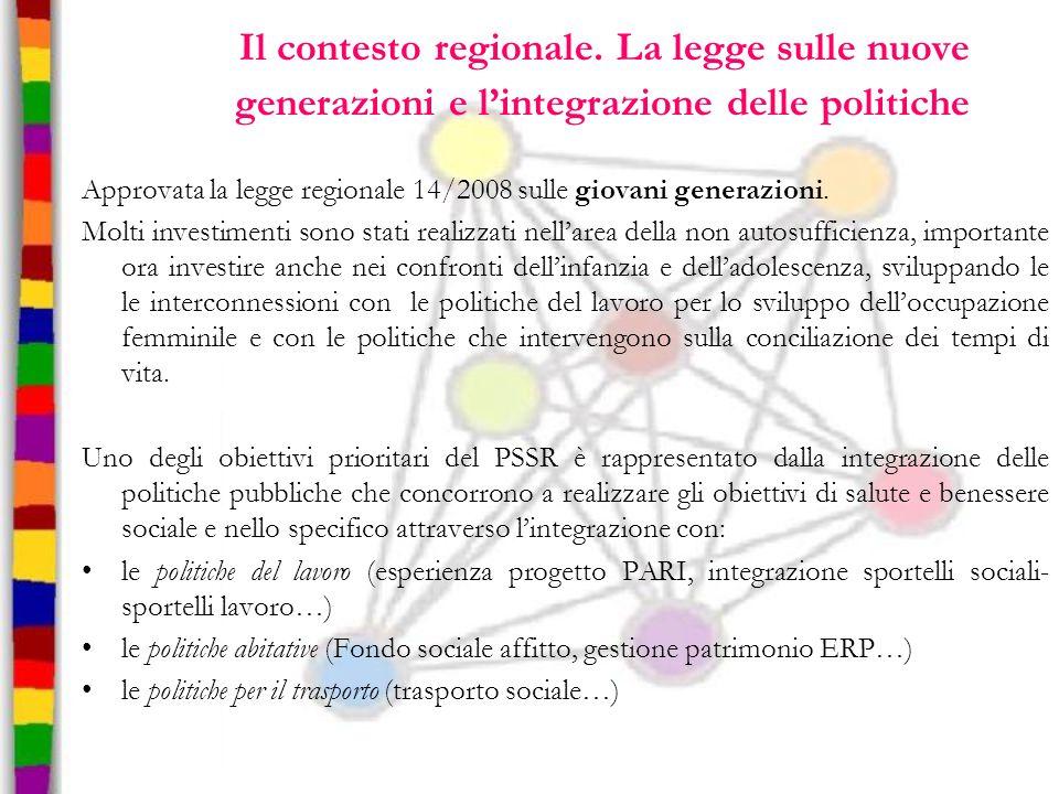 Il contesto regionale. La legge sulle nuove generazioni e l'integrazione delle politiche Approvata la legge regionale 14/2008 sulle giovani generazion