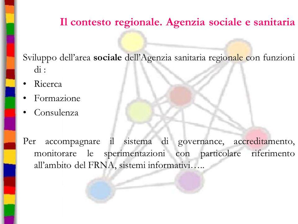 Il contesto regionale. Agenzia sociale e sanitaria Sviluppo dell'area sociale dell'Agenzia sanitaria regionale con funzioni di : Ricerca Formazione Co