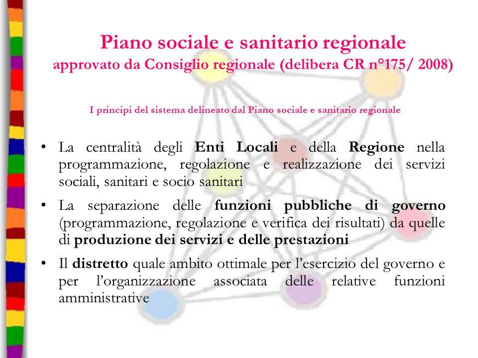 Piano sociale e sanitario regionale approvato da Consiglio regionale (delibera CR n°175/ 2008) I principi del sistema delineato dal Piano sociale e sa