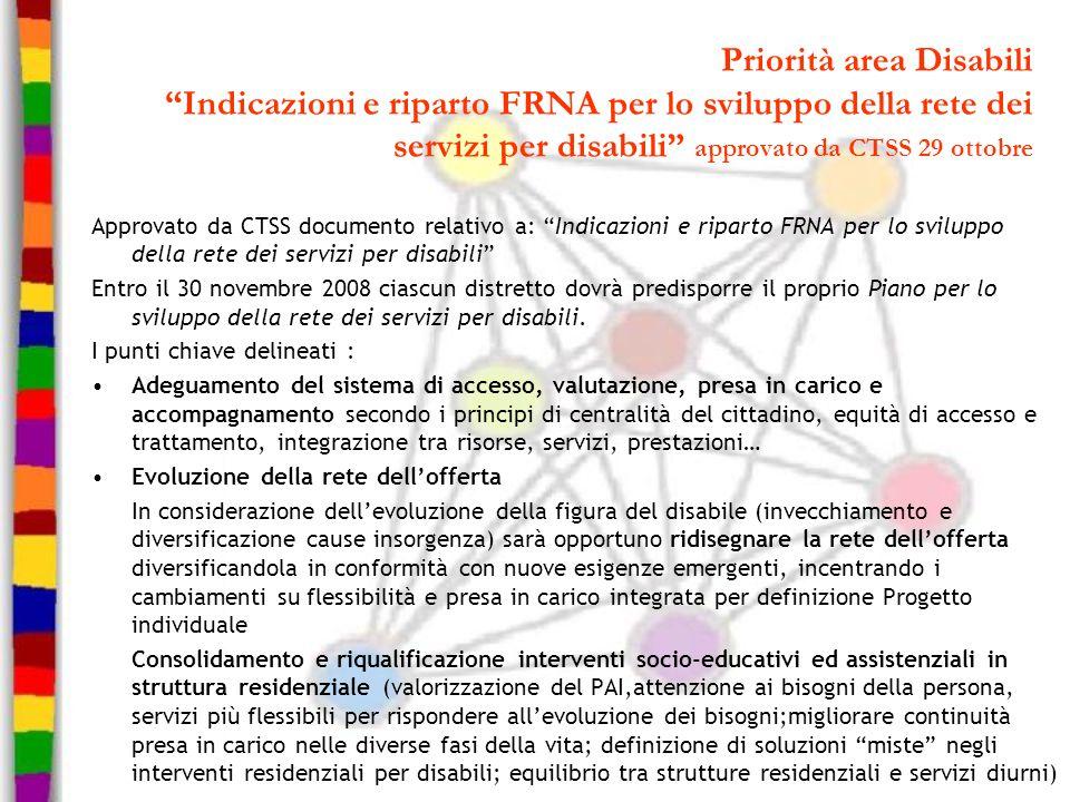 """Priorità area Disabili """"Indicazioni e riparto FRNA per lo sviluppo della rete dei servizi per disabili"""" approvato da CTSS 29 ottobre Approvato da CTSS"""