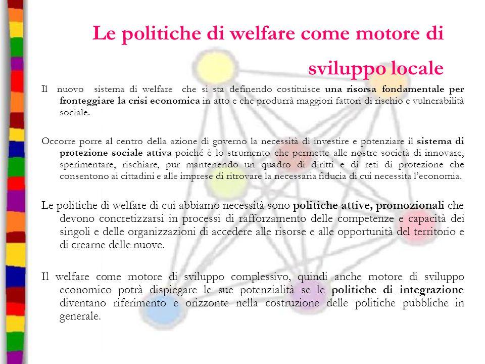 Le politiche di welfare come motore di sviluppo locale Il nuovo sistema di welfare che si sta definendo costituisce una risorsa fondamentale per front