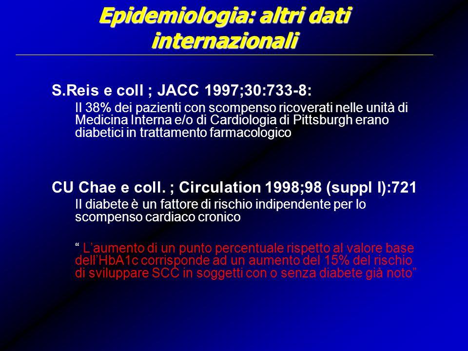 Epidemiologia: altri dati internazionali S.Reis e coll ; JACC 1997;30:733-8: Il 38% dei pazienti con scompenso ricoverati nelle unità di Medicina Interna e/o di Cardiologia di Pittsburgh erano diabetici in trattamento farmacologico CU Chae e coll.