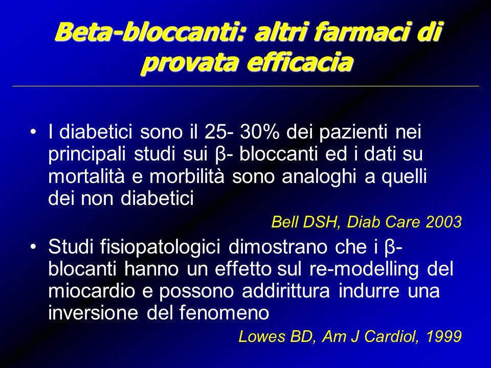 Beta-bloccanti: altri farmaci di provata efficacia I diabetici sono il 25- 30% dei pazienti nei principali studi sui β- bloccanti ed i dati su mortalità e morbilità sono analoghi a quelli dei non diabetici Bell DSH, Diab Care 2003 Studi fisiopatologici dimostrano che i β- blocanti hanno un effetto sul re-modelling del miocardio e possono addirittura indurre una inversione del fenomeno Lowes BD, Am J Cardiol, 1999
