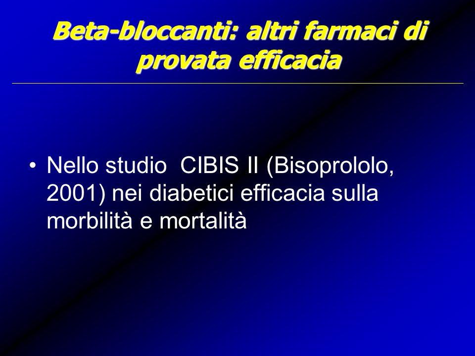 Beta-bloccanti: altri farmaci di provata efficacia Nello studio CIBIS II (Bisoprololo, 2001) nei diabetici efficacia sulla morbilità e mortalità