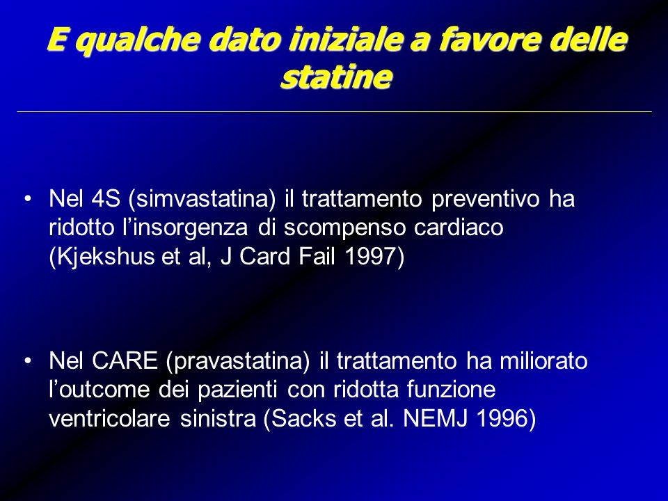 E qualche dato iniziale a favore delle statine Nel 4S (simvastatina) il trattamento preventivo ha ridotto l'insorgenza di scompenso cardiaco (Kjekshus et al, J Card Fail 1997) Nel CARE (pravastatina) il trattamento ha miliorato l'outcome dei pazienti con ridotta funzione ventricolare sinistra (Sacks et al.