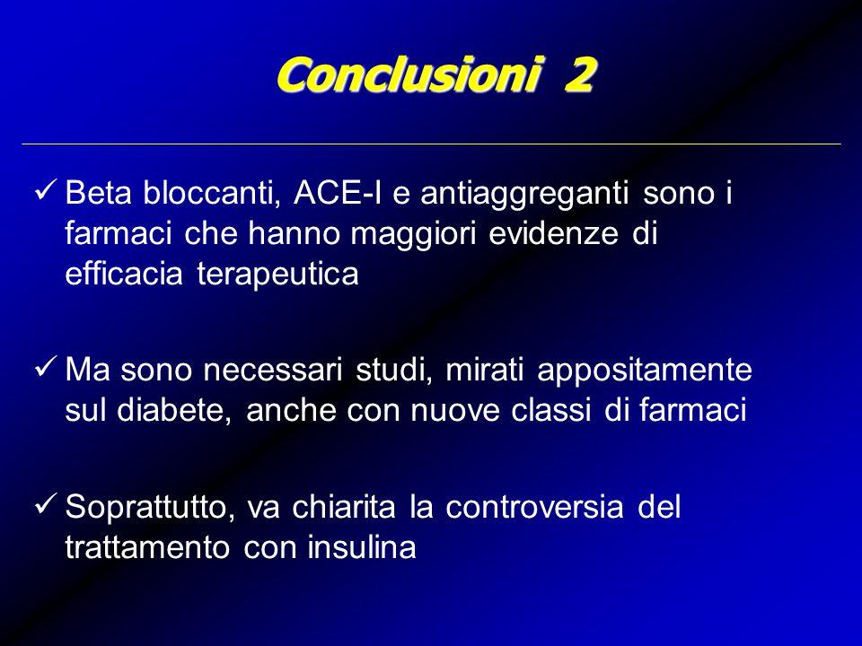 Conclusioni 2 Beta bloccanti, ACE-I e antiaggreganti sono i farmaci che hanno maggiori evidenze di efficacia terapeutica Ma sono necessari studi, mirati appositamente sul diabete, anche con nuove classi di farmaci Soprattutto, va chiarita la controversia del trattamento con insulina