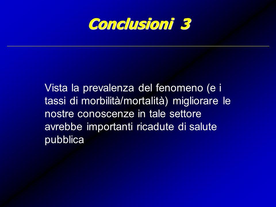 Conclusioni 3 Vista la prevalenza del fenomeno (e i tassi di morbilità/mortalità) migliorare le nostre conoscenze in tale settore avrebbe importanti ricadute di salute pubblica