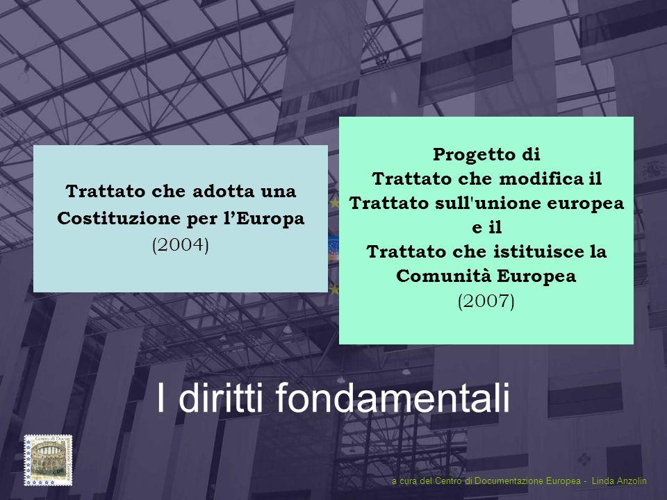 Diritti Fondamentali1 I diritti fondamentali Trattato che adotta una Costituzione per l'Europa (2004) Progetto di Trattato che modifica il Trattato sull unione europea e il Trattato che istituisce la Comunità Europea (2007) a cura del Centro di Documentazione Europea - Linda Anzolin