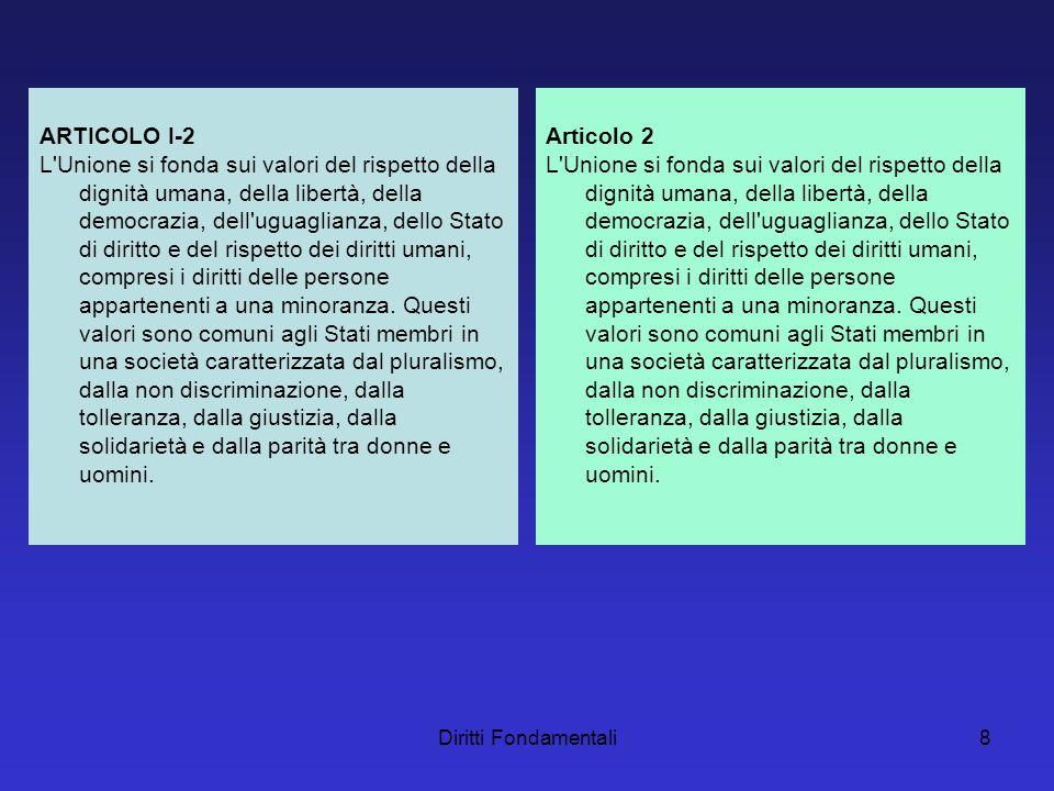 Diritti Fondamentali8 ARTICOLO I-2 L Unione si fonda sui valori del rispetto della dignità umana, della libertà, della democrazia, dell uguaglianza, dello Stato di diritto e del rispetto dei diritti umani, compresi i diritti delle persone appartenenti a una minoranza.