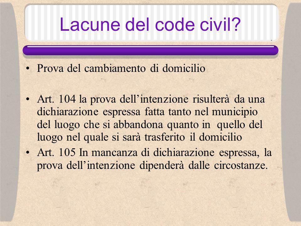 Lacune del code civil. Il cambiamento di domicilio Art.