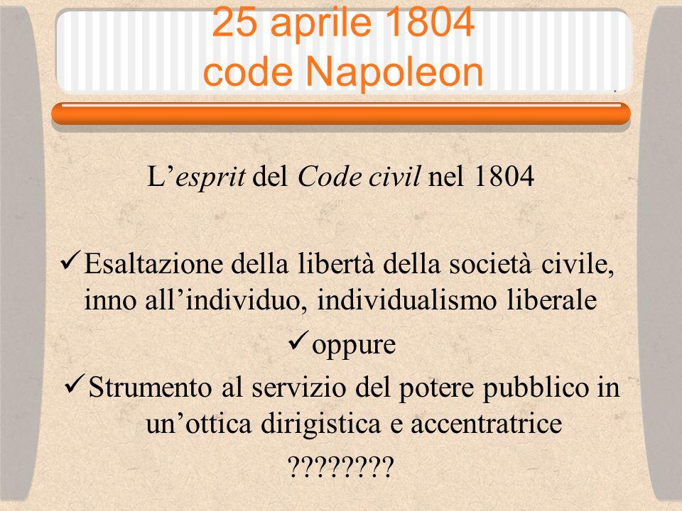 25 aprile 1804 code Napoleon L'esprit del Code civil nel 1804 Esaltazione della libertà della società civile, inno all'individuo, individualismo liberale oppure Strumento al servizio del potere pubblico in un'ottica dirigistica e accentratrice ????????