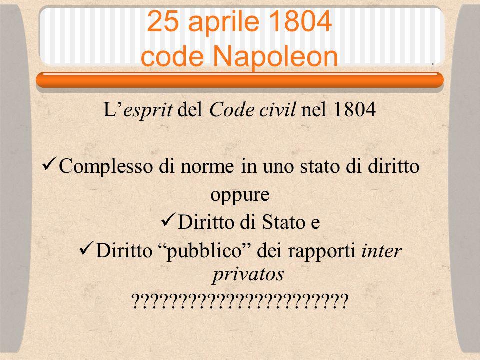 25 aprile 1804 code Napoleon L'esprit del Code civil nel 1804 Esaltazione della libertà della società civile, inno all'individuo, individualismo liberale oppure Strumento al servizio del potere pubblico in un'ottica dirigistica e accentratrice