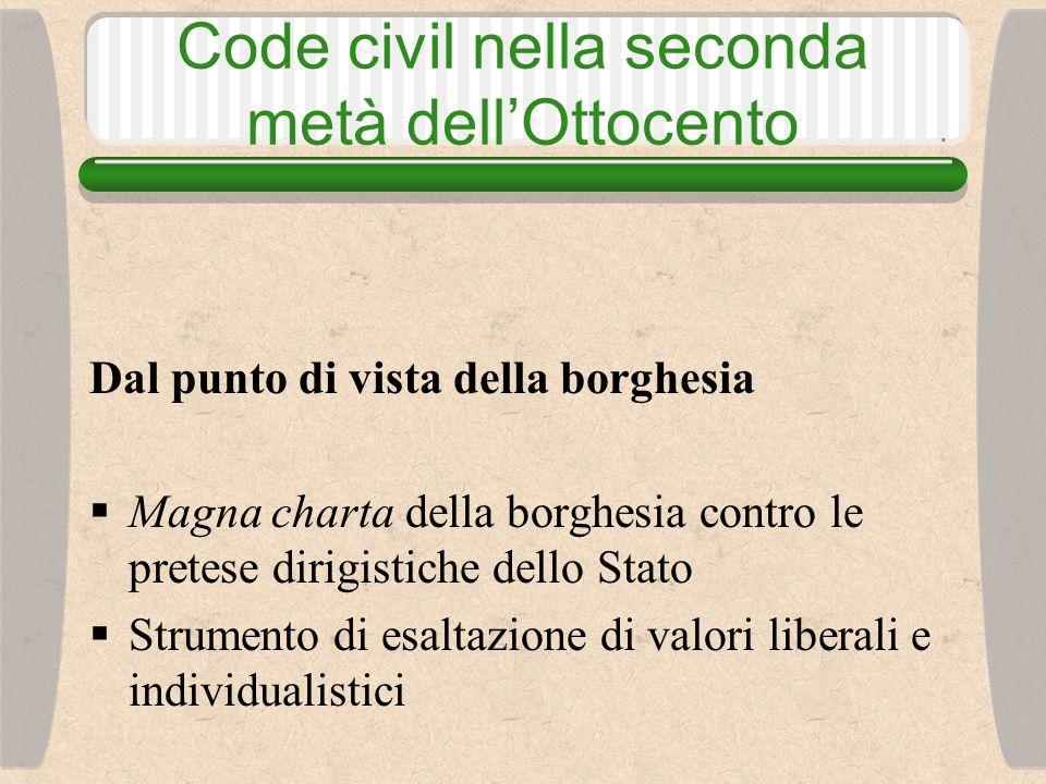 Code civil nella seconda metà dell'Ottocento Dal punto di vista della borghesia  Magna charta della borghesia contro le pretese dirigistiche dello Stato  Strumento di esaltazione di valori liberali e individualistici