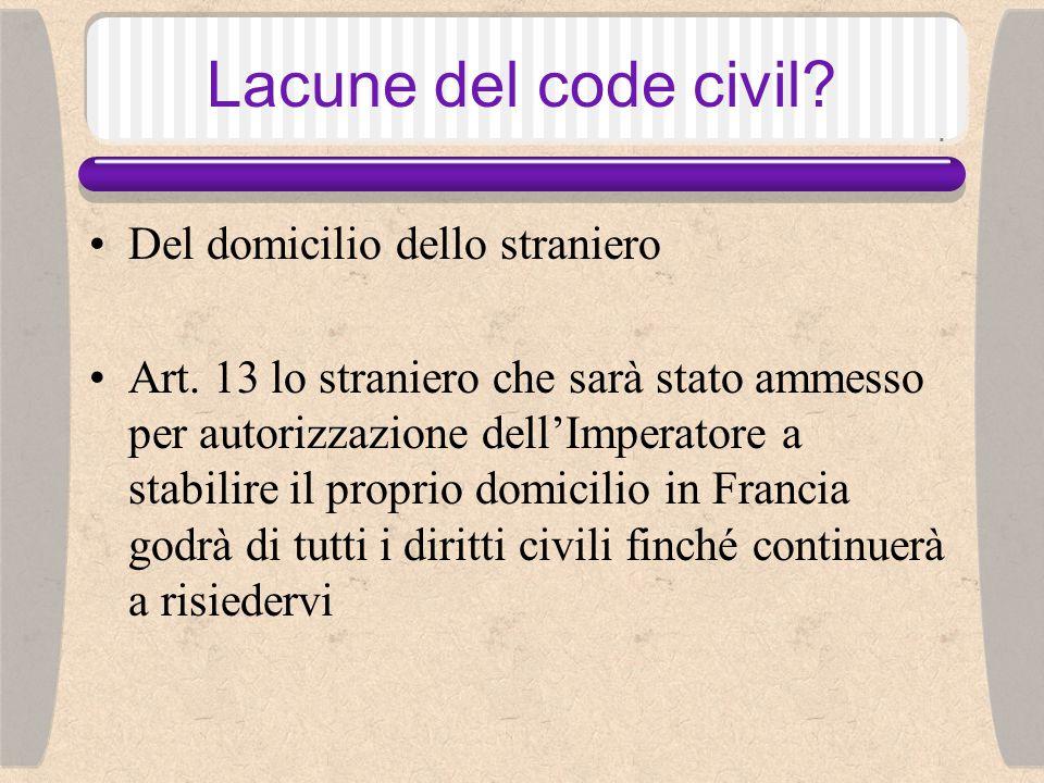 Lacune del code civil.Del domicilio dello straniero Art.