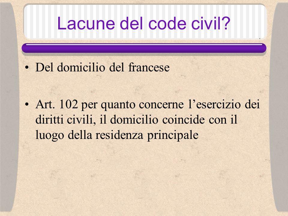 Lacune del code civil. Del domicilio dello straniero Art.