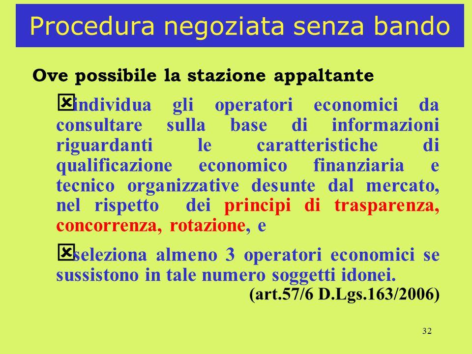 32 Procedura negoziata senza bando Ove possibile la stazione appaltante ý individua gli operatori economici da consultare sulla base di informazioni r