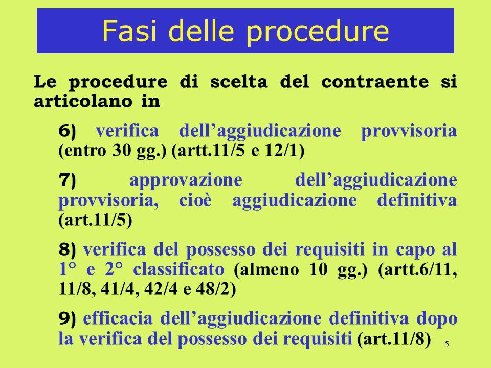 5 Fasi delle procedure Le procedure di scelta del contraente si articolano in 6) verifica dell'aggiudicazione provvisoria (entro 30 gg.) (artt.11/5 e 12/1) 7) approvazione dell'aggiudicazione provvisoria, cioè aggiudicazione definitiva (art.11/5) 8) verifica del possesso dei requisiti in capo al 1° e 2° classificato (almeno 10 gg.) (artt.6/11, 11/8, 41/4, 42/4 e 48/2) 9) efficacia dell'aggiudicazione definitiva dopo la verifica del possesso dei requisiti (art.11/8)