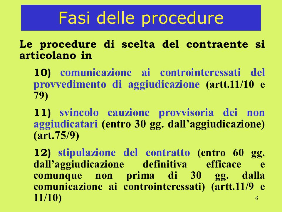 6 Fasi delle procedure Le procedure di scelta del contraente si articolano in 10) comunicazione ai controinteressati del provvedimento di aggiudicazio