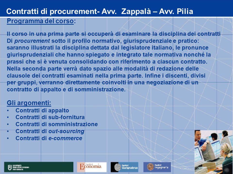 Contratti di procurement- Avv. Zappalà – Avv.