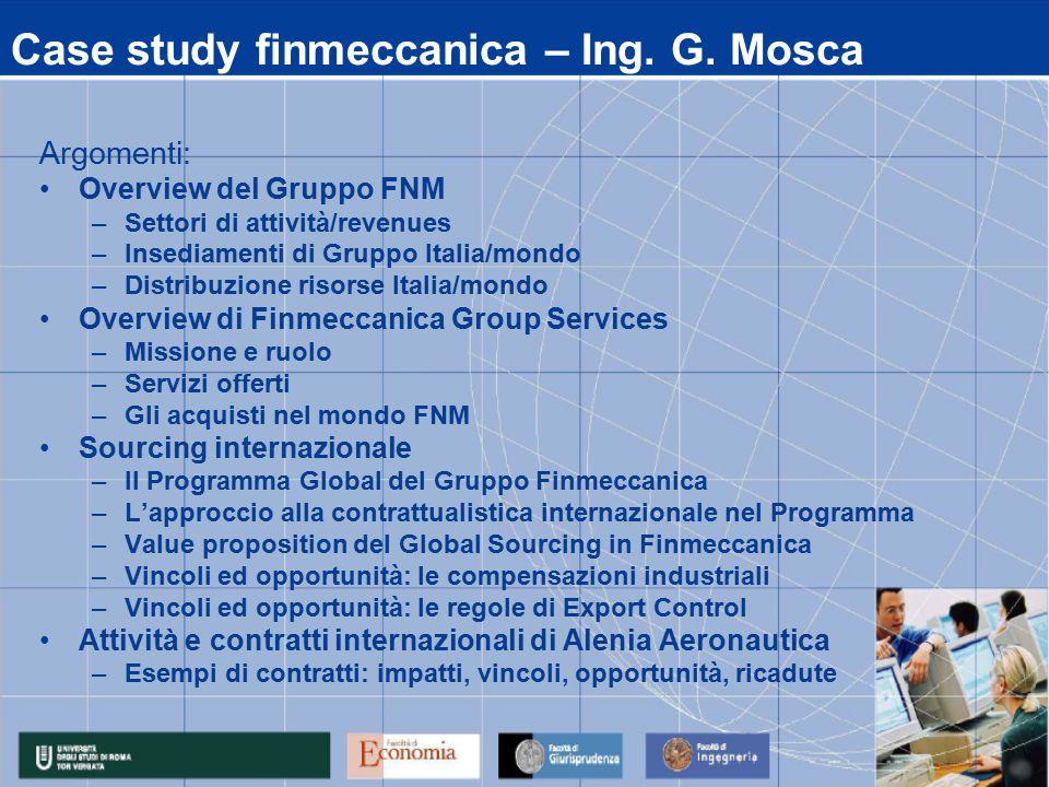 Case study finmeccanica – Ing. G.