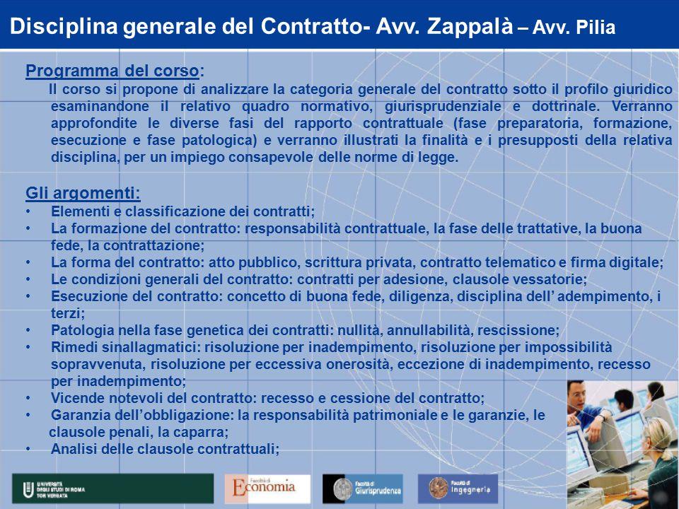 Disciplina generale del Contratto- Avv. Zappalà – Avv.