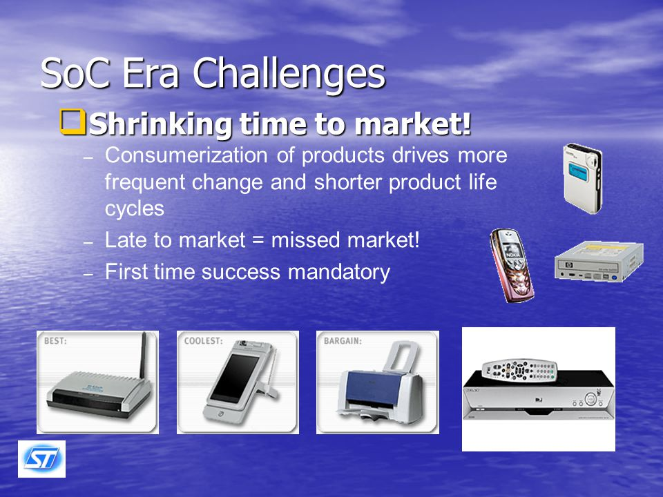 Product Reliability Assurance Challenges in the SoC Era ( SoC : System on Chip ) Shrinking time to market Shrinking time to market Increased complexity in all areas Increased complexity in all areas –Process –Product –Manufacturing –Marketplace & Customer Less margin for accelerated tests Less margin for accelerated tests More discontinuities in technology and business More discontinuities in technology and business