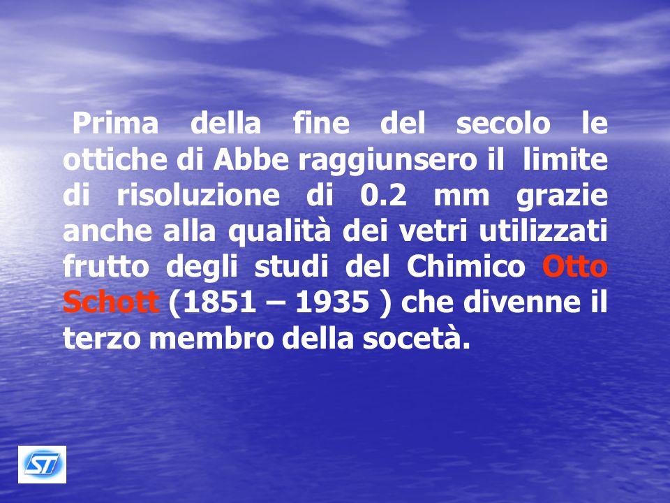Prima della fine del secolo le ottiche di Abbe raggiunsero il limite di risoluzione di 0.2 mm grazie anche alla qualità dei vetri utilizzati frutto degli studi del Chimico Otto Schott (1851 – 1935 ) che divenne il terzo membro della socetà.