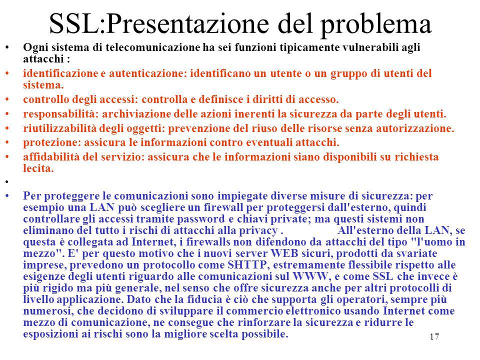 17 SSL:Presentazione del problema Ogni sistema di telecomunicazione ha sei funzioni tipicamente vulnerabili agli attacchi : identificazione e autentic