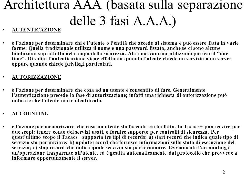 2 Architettura AAA (basata sulla separazione delle 3 fasi A.A.A.) AUTENTICAZIONE è l'azione per determinare chi è l'utente o l'entità che accede al si