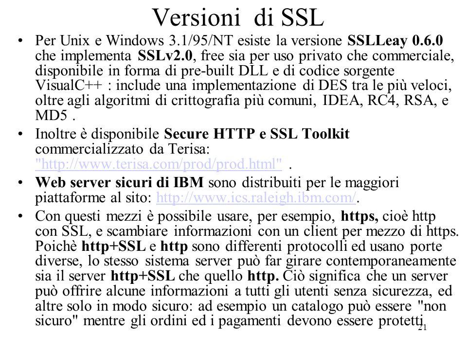 21 Versioni di SSL Per Unix e Windows 3.1/95/NT esiste la versione SSLLeay 0.6.0 che implementa SSLv2.0, free sia per uso privato che commerciale, dis