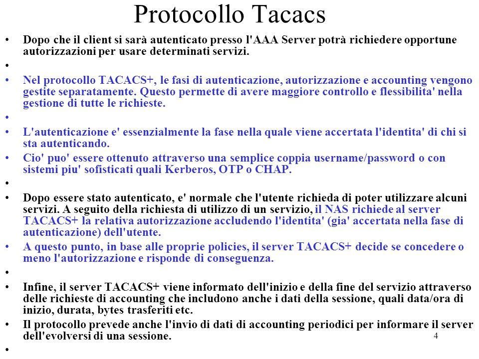 4 Protocollo Tacacs Dopo che il client si sarà autenticato presso l'AAA Server potrà richiedere opportune autorizzazioni per usare determinati servizi