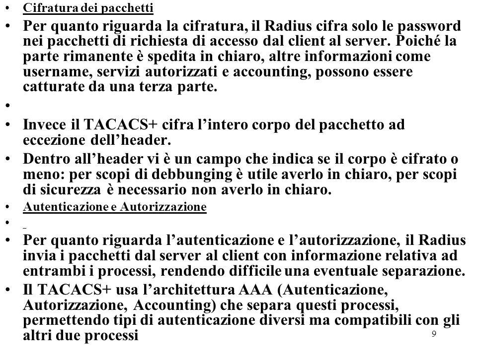 9 Cifratura dei pacchetti Per quanto riguarda la cifratura, il Radius cifra solo le password nei pacchetti di richiesta di accesso dal client al serve