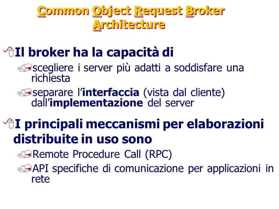 CORB A Common Object Request Broker Architecture 8Il broker ha la capacità di /scegliere i server più adatti a soddisfare una richiesta /separare l'interfaccia (vista dal cliente) dall'implementazione del server 8I principali meccanismi per elaborazioni distribuite in uso sono /Remote Procedure Call (RPC) /API specifiche di comunicazione per applicazioni in rete