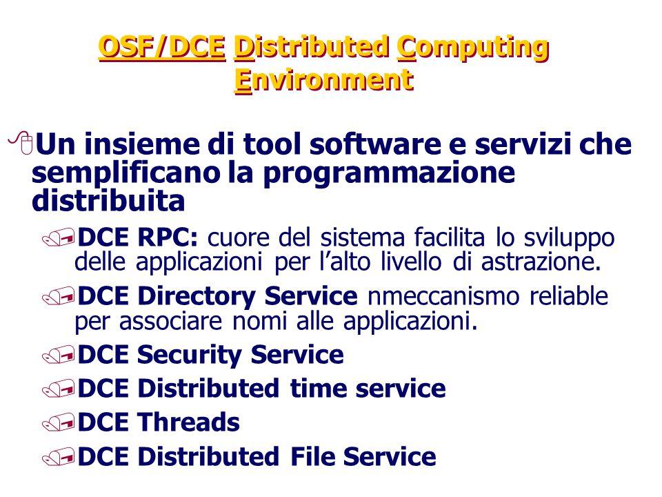 OSF/DCE Distributed Computing Environment 8Un insieme di tool software e servizi che semplificano la programmazione distribuita /DCE RPC: cuore del si