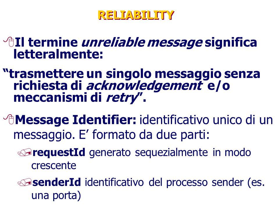 RELIABILITY 8Il termine unreliable message significa letteralmente: trasmettere un singolo messaggio senza richiesta di acknowledgement e/o meccanismi di retry .