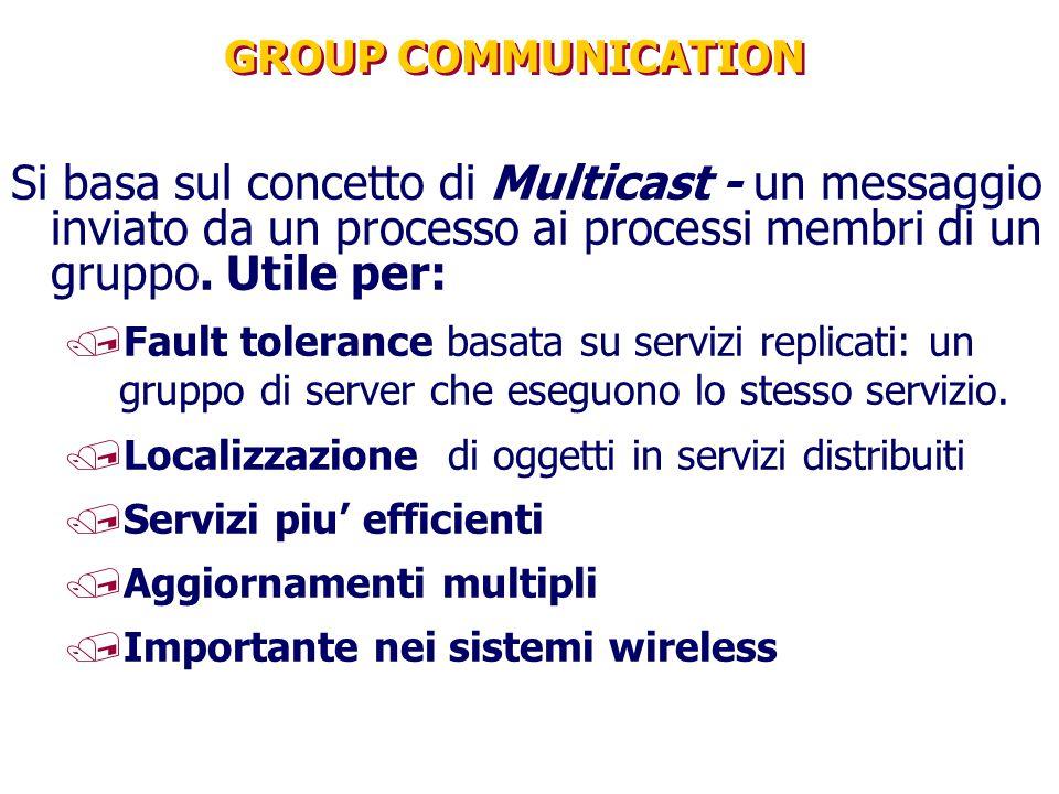 GROUP COMMUNICATION Si basa sul concetto di Multicast - un messaggio inviato da un processo ai processi membri di un gruppo. Utile per: /Fault toleran